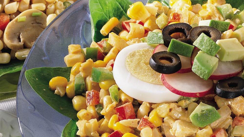CHILI-LIME CORN & SPINACH SALAD!!