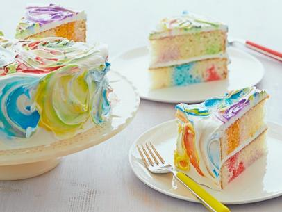 RAINBOW RIBBON CAKE!!