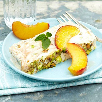 PEACH SEMIFREDDO WITH PISTACHIOS!!