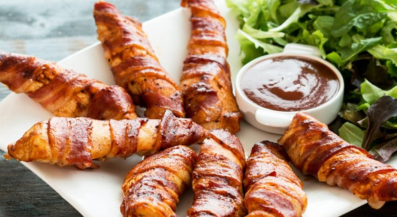 BACON WRAPPED CHICKEN STRIPS!!