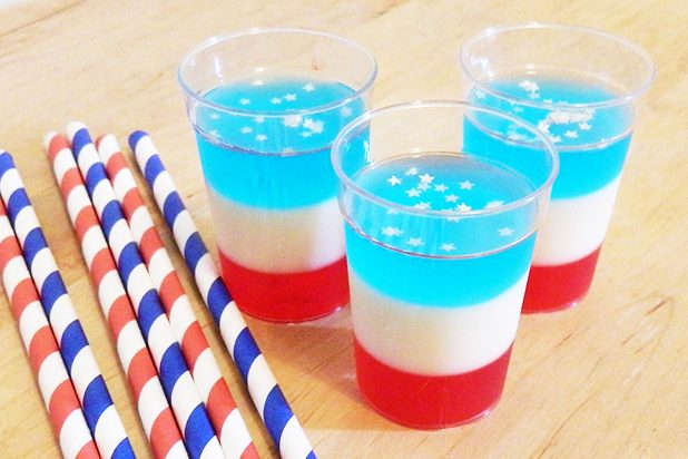 RED WHITE AND BLUE JELLO SHOTS!!
