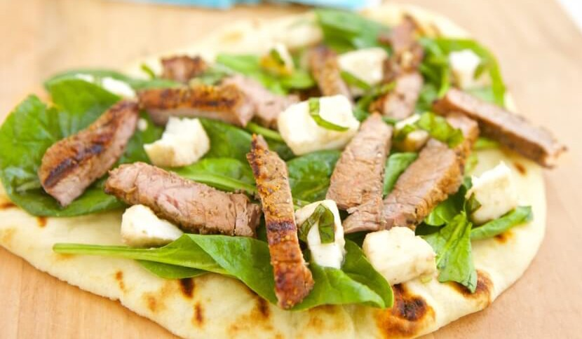 GRILLED STEAK & FRESH MOZZARELLA FLATBREAD!!