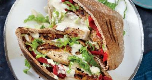 GRILLED CHICKEN PITAS W/ SESAME DRIZZLE!!