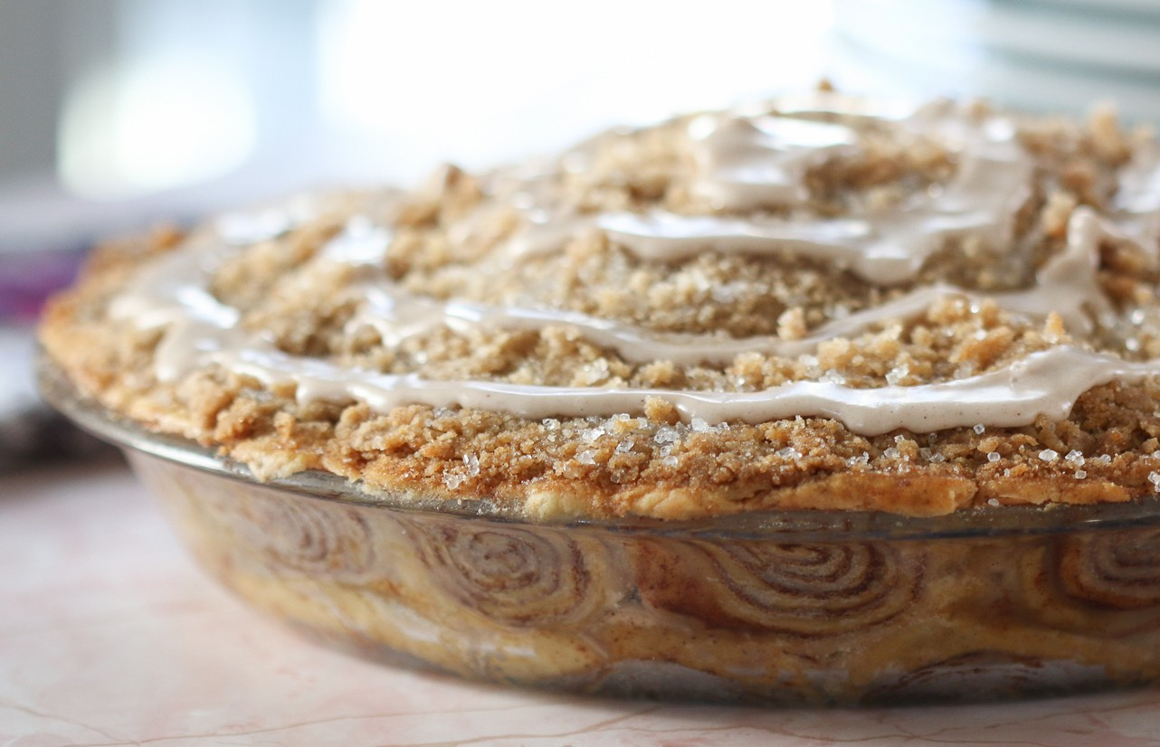 OUTRAGEOUS CINNAMON ROLL APPLE PIE!!